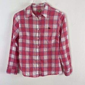Burberry blouse pink check cotton size M